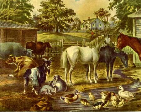 detail American Farmyard - Morning �1867 Currier And Ives